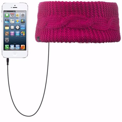 Picture of KitSound KitSound Audio Cable Knit Headband with Built-In On-Ear Headphones in Pink