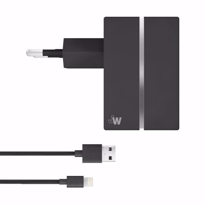 Picture of Just Wireless Just Wireless 2.1A EU Mains Charger with Apple Lightning Connector in Black